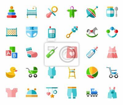 Produkte für kinder, farbige ikonen, flach. vektor cliparts mit ...