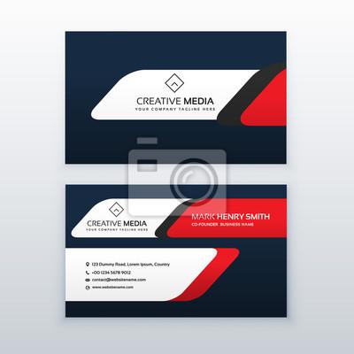 Professionelle Visitenkarte Design Vorlage In Roter Und