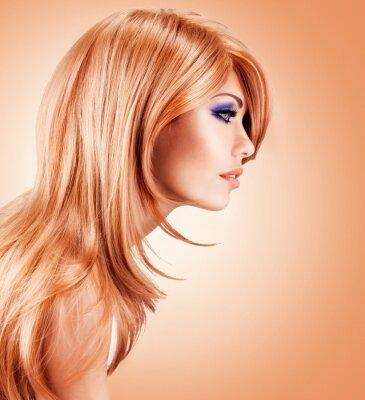 Fototapete Profil Portrait der schönen hübsche Frau mit langen roten Haaren