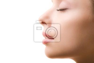 Fototapete Profil von weiblichen Gesicht mit geschlossenen Augen und Make-up