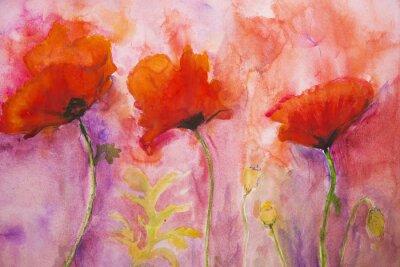 Fototapete Psychedelische Mohnblumen auf einem rosa Hintergrund.