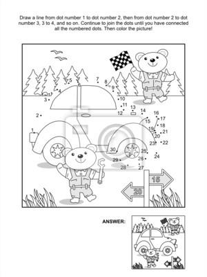 Punkt-zu-punkt-und malvorlagen - auto-und bären mechanik fototapete ...