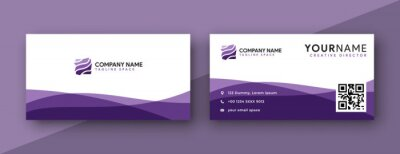 Fototapete purple business card design. modern wavy theme, double sided business card design