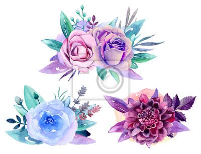 Fototapete Purple Floral Bouquet Clip Art Blue Watercolor Flowers Arrangement