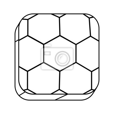 Quadrat Silhouette Button mit Kontur Fußball Form Ball Vektor-Illustration
