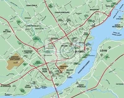Quebec Karte.Fototapete Quebec Metropolitcan Karte