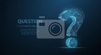 Fototapete Question mark. 3d abstract vector on dark blue background with dots and stars. Ask symbol.
