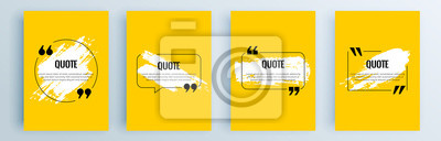 Fototapete Quote frames blank templates set. Text in brackets, citation empty speech bubbles, quote bubbles. Textbox isolated on color background. Vector illustration.