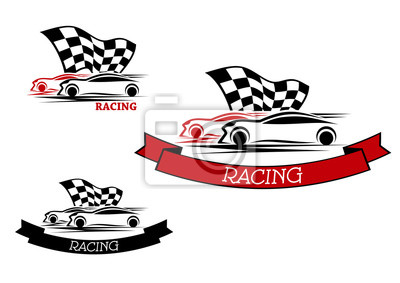 Racing sport embleme mit schnellen autos fototapete • fototapeten ...