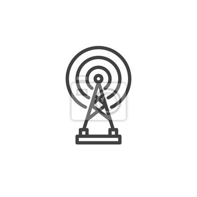 Radar drahtlose antenne liniensymbol, umriss vektor zeichen ...