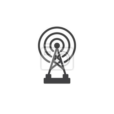 Radar drahtlose antenne symbol vektor, gefüllte flache zeichen ...