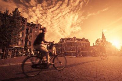 Fototapete Radfahren in der Stadt