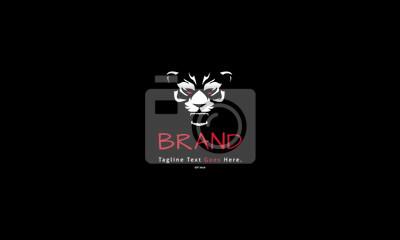 Fototapete Rage beast animal red white vector logo image