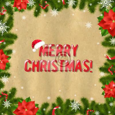 Rahmen Tannenzweigen mit Weihnachtsstern Und Altes Papier