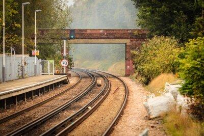 Fototapete Rail road railway tracks.