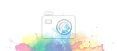 Fototapete Rainbow watercolor colorful border background isolated on white