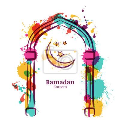 Ramadan kareem vektor aquarell hintergrund mit bunten mond und ...