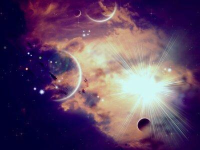 Fototapete Raum-Wolken und Planeten