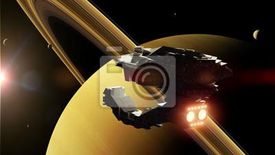 Retro Kühlschrank Saturn : Raumschiff im orbit des ringplaneten saturn 3d science fiction