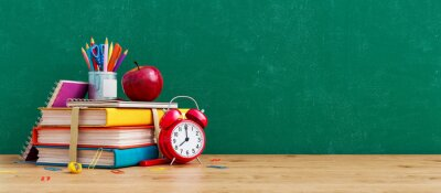 Fototapete Ready for school concept background with books, alarm clock and accessory 3D Rendering, 3D Illustration