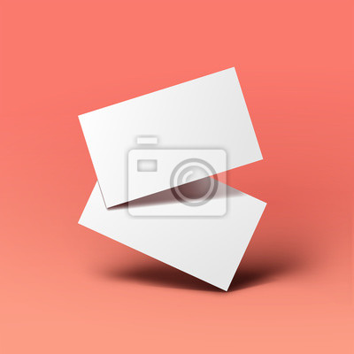 Fototapete Realistic floating business branding cards template mockup with shadows. Vector illustration