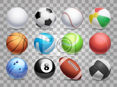Fototapete Realistic sports balls vector big set isolated on transparent background