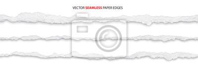 Fototapete realistic torn paper edges, vector illustration