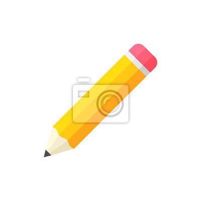 Fototapete Realistic yellow wooden pencil with rubber eraser icon in flat style. Highlighter vector illustration on white isolated background. Pencil business concept.