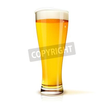 Fototapete Realistische Isolierte Glas Bier mit Tropfen Vektor-Illustration