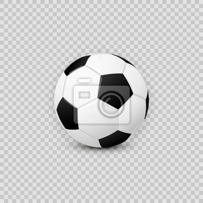 Fototapete Realistisches Fußballfußball-Ballvektor-Gestaltungselement auf transparentem kariertem Hintergrund