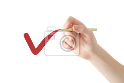 Rechte Hand schreiben rote Markierung in der Luft, umgekehrte Ansicht, getrennt auf Weiß, Ausschnittspfad