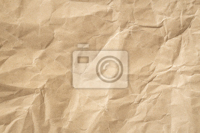 Fototapete Recycle brown paper crumpled texture, Old paper surface for background.
