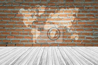 Red Brick Wand Textur Oberflache Mit Holz Terrasse Und Weltkarte
