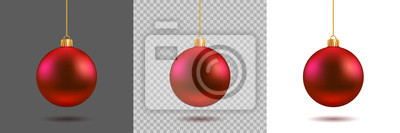 Fototapete Red Christmas ball on gray, transparent and white background. New year toy decoration - stock vector