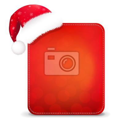 Red Christmas Banner mit Weihnachtsmütze