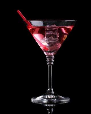 Fototapete Red Cocktail in Martini-Glas isoliert auf schwarz