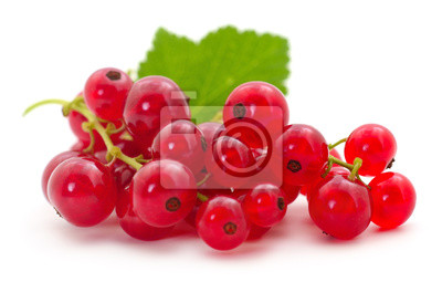 Fototapete Red currants with green leaves.