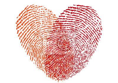 Red Fingerabdruck Herz Vektor Fototapete Fototapeten