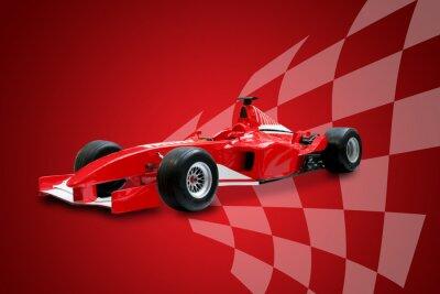 Fototapete red Formel ein Auto und racing flag