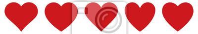 Fototapete Red heart icons set vector