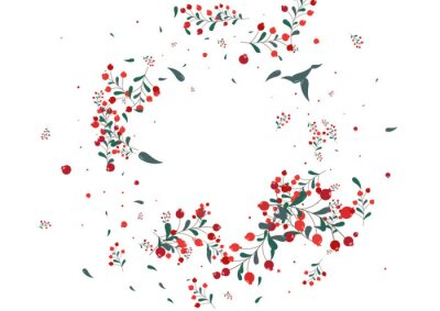 Fototapete Red Herb Background White Vector. Leaves Silhouette Illustration. Pink Rowan Season. Abstract Texture. Berries September.