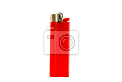 Fototapete Red lighter isolated on white background, with clipping path. Design element.
