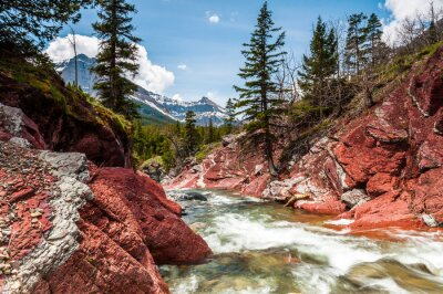 Fototapete Red Rock Creek in Bewegung und Canyon