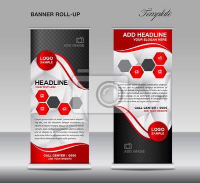 Red roll up banner vorlage vektor, roll-up stand, banner-design ...