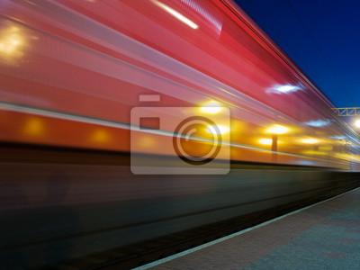 Fototapete red Schnellzug blur