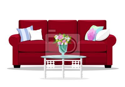 Fototapete Red Soft Luxus Stil Sofa Mit Glastisch Für Wohnzimmer. Netter  Platz Für Rest