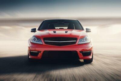 Fototapete Red Sport Auto Schnell Fahren Geschwindigkeit Auf Asphalt Road