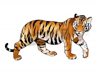 Fototapete Red Tiger. Cartoon und Vektor-isolierten Tier.