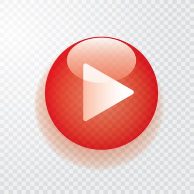 Fototapete red transparent play button with shadow, icon