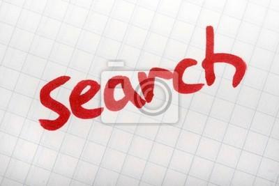 Red Wort SEARCH auf dem Papier. Hand schreiben Schriftart und Internet-Konzept
